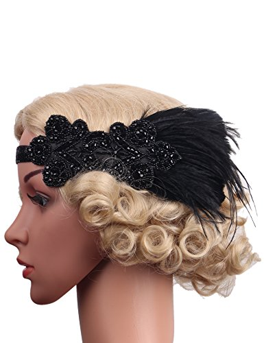 [Flapper Girl Vintage White Feather Silver 20s Headpiece 1920s Flapper Headband (Black)] (Black And Silver Beaded Flapper Headband)