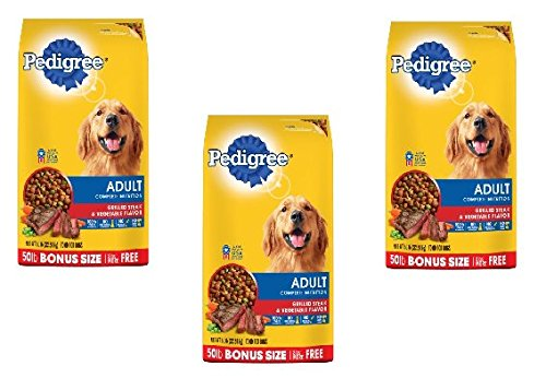 PEDIGREE Adult Complete Nutrition Grilled Steak & Vegetable Flavor Dry Dog Food 50 Pounds (50 pounds Pack of 3) by PEDIGREE
