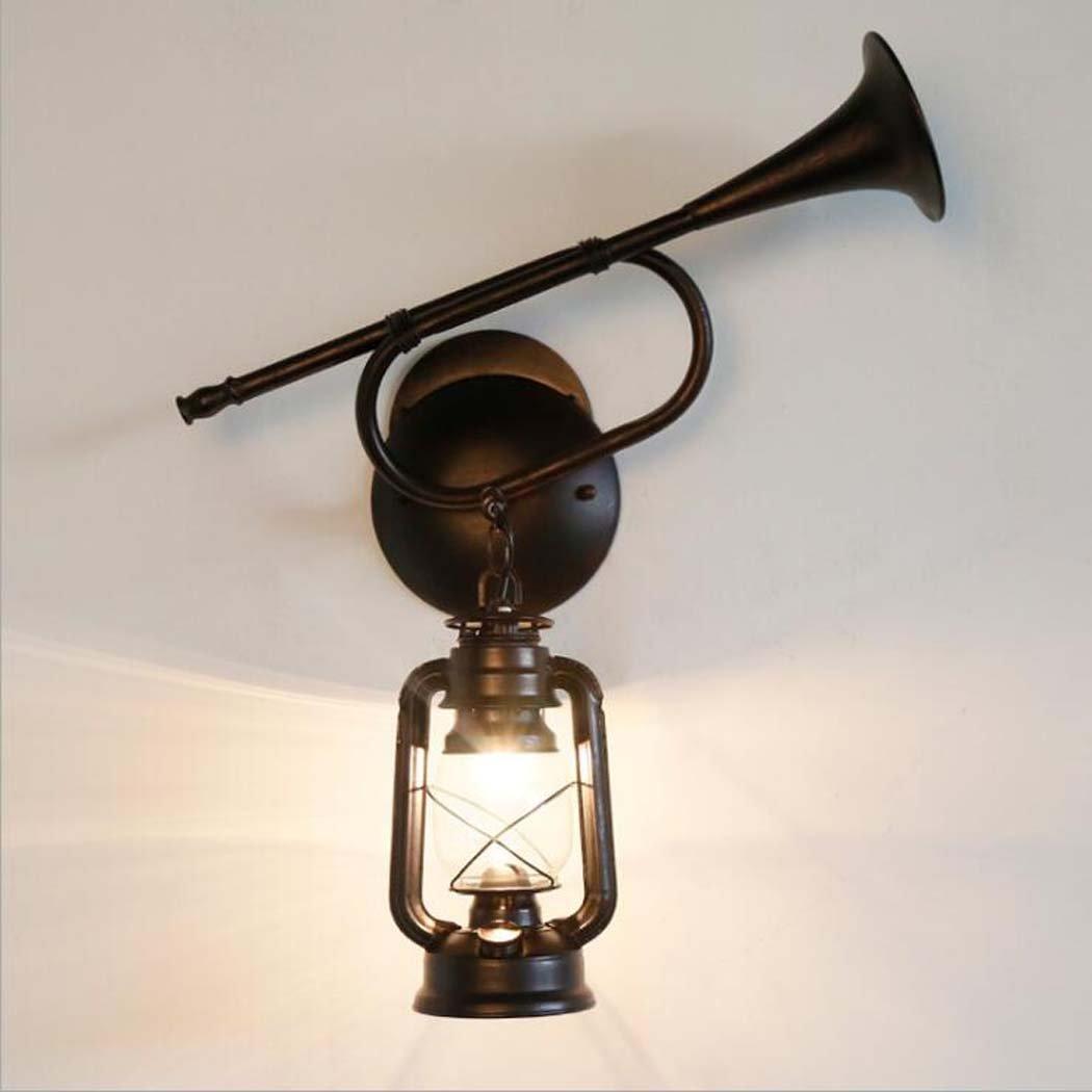 Vintage Glas Wandleuchte, kreative Persönlichkeit Eisen Lautsprecher Wandleuchte, antike klassische Laterne Kerosin Lampe Wandleuchte E27 (ohne Lichtquelle) YDYG