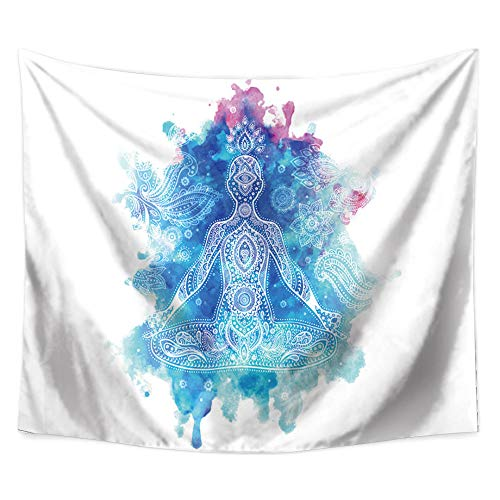 MRQXDP Golden Sun Moon Lotus, Black White Sketch Tapestry Bedroom Living Room Decoration Beach Towel Shawl ()