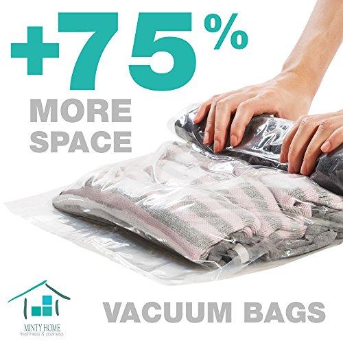Travel Vacuum Space Saver Bags| 4 Large + 4 Medium Vacuum Sealer Bags| NO HAND PUMP|Roll-Up Ergonomic and Space Saving Luggage Bags| Bonus Wine Vacuum Stopper - Target Travel Bag