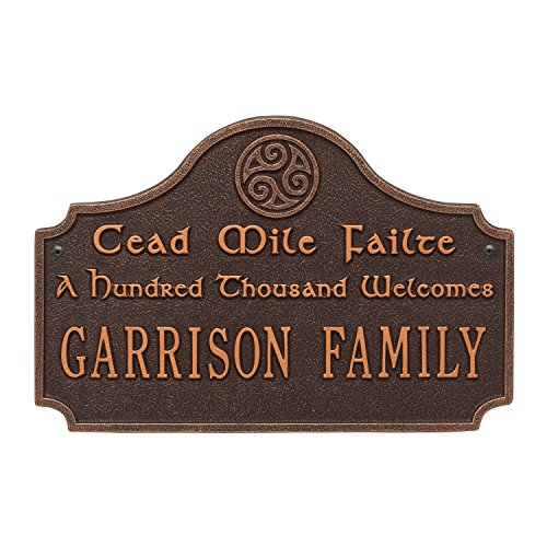 Personalized Indoor/Outdoor Irish Family Name Cead Mile Failte, A Thousand Welcomes Plaque Sign (Oil Rubbed Bronze)
