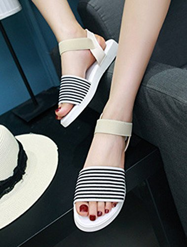 Aisun Womens Comfy Trendy Striped Open Toe Elastic Flat Sandals With Ankle Strap Beige g6icOZwNu