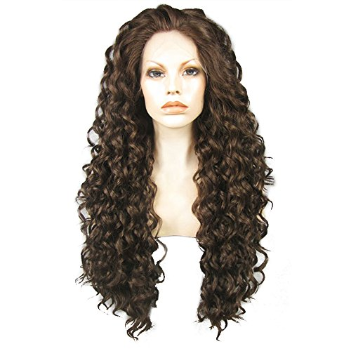 Ebingoo Dark Brown Lace Front Wig Long Kinky Curly Synthetic Glueless Soft Heat Resistant Fiber Wig Free Part for Women]()