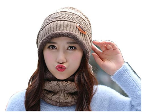 (1Set (Hat with Neck scarf ) Khaki Women Thicken Knitted Winter Warmer Hat Cap With Warmers Neckerchief Scarf For skiing Skating Outdoor Activities Sports Wear Also For Boys Men)