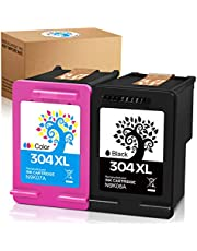 H&BO TOPMAE Remanufactured Ink Cartridge Replacement for HP 304XL 304 XL Use with Deskjet 2630 2632 3720 2622 3750 3760 Envy 5030 5020 5010 5032 5050, High Yield(1 Black, 1 Tri-colour)