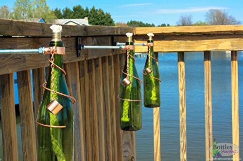 Two 750ml green wine bottle tiki torches patio decor for Decor 750ml