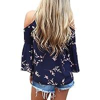 HOTAPEI Women's Floral Print Cut Out Shoulder 3 4 Sleeve Chiffon T Shirt Tops Blouse
