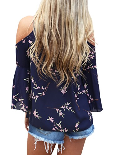 HOTAPEI Women's Floral Print Cut Out Shoulder 3 4 Sleeve Chiffon T Shirt Tops Blouse Navy Blue Small Floral Print Cut Out