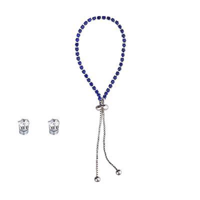 New Popular Diamond Rhinestone Bracelet Earrings Set Adjustable Friendship Bracelet Fashion Personalized Gift Blue: Clothing [5Bkhe1803593]