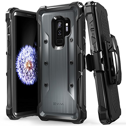 Galaxy S9 Plus Case, Vena [vArmor] Rugged Military Grade Shock Absorption Heavy Duty Case with Belt Clip Swivel Holster & Kickstand Hard Shell for Samsung Galaxy S9 Plus - Black/Space Gray
