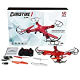 SKYKING Quadcopter Drone with Camera and LED Lights 2.4GHz 4CH 6-Gyro Headless Mode Function Red(1GB SD Card & Card Reader Included)