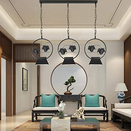 (BOSSLV Modern Hanging Light Creative Personality Chandelier Metal Pendent Lamp Industrial Design Ceiling Light Lighting Black Pendant Lamp Dining Table Parlor Dining Hall Warm 5W)