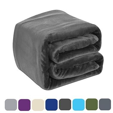 DREAMFLYLIFE Luxury Fleece Blanket 380GSM Thick Blanket Super Soft Blanket Bed Warm Blanket Couch Blanket Winter Dark Grey Queen-Size, 90x90 in
