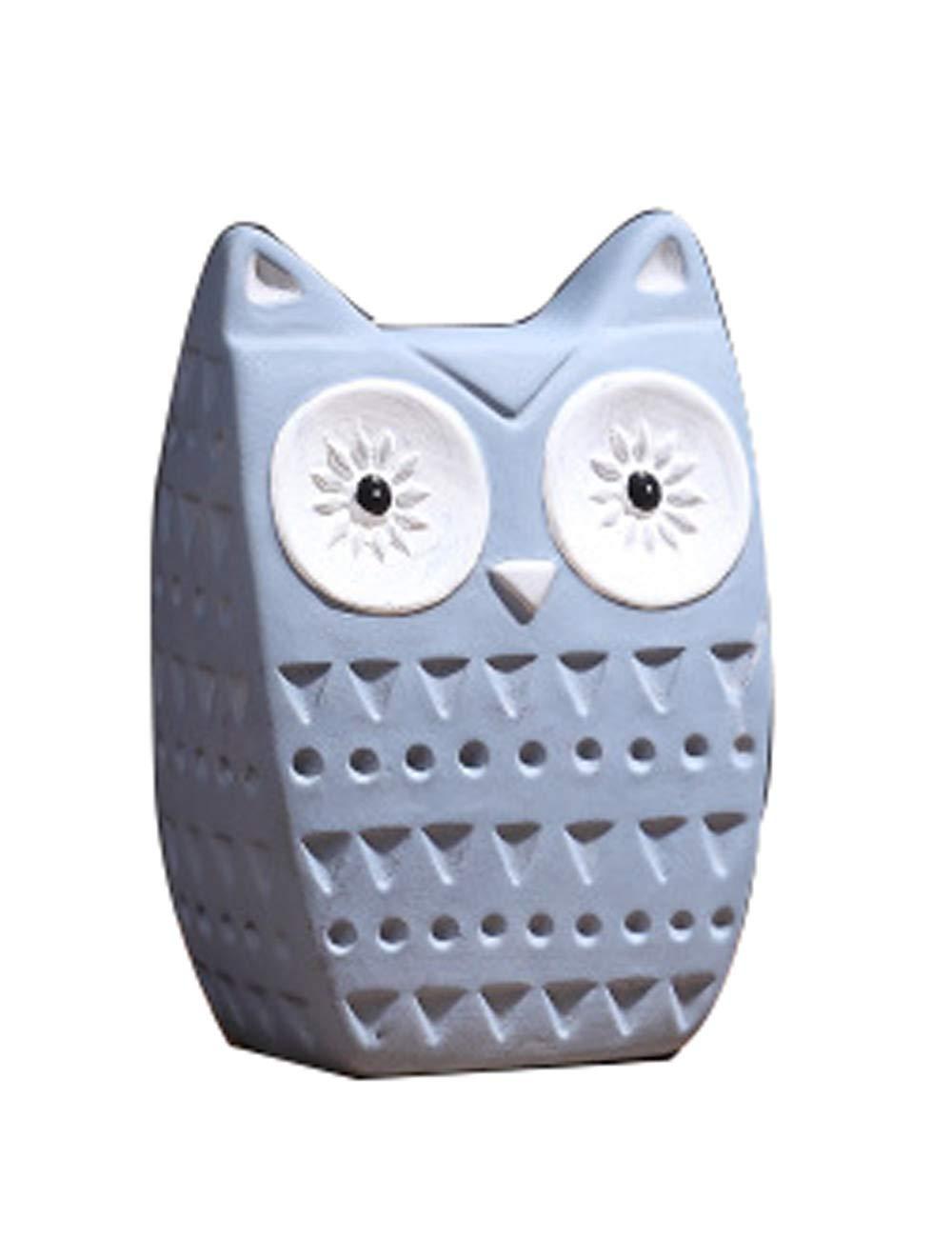 装飾品、樹脂材料のアートワーク、ヨーロッパスタイルの装飾、クリエイティブな動物のフクロウの工芸品 (色 : 青, サイズ さいず : B) B 青 B07JX84P3M