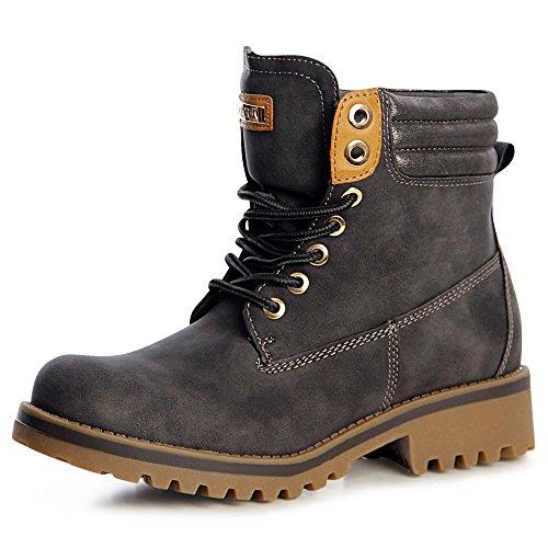topschuhe24 1288 Damen Stiefel Worker Boots Schnürer derb Grau