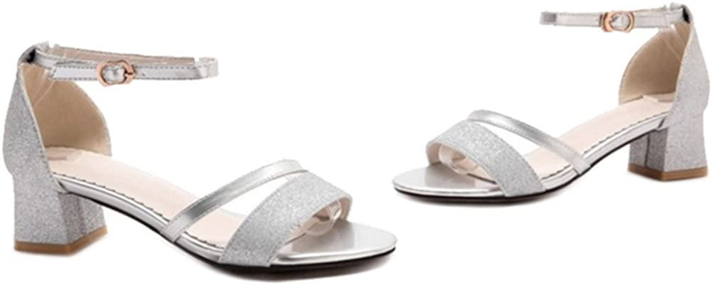 Cocey Fashion Sandals with Chunky Heel and Bling Materail for Parties