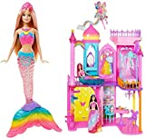Hot SELLER Barbie DPY39 Rainbow Cove Princess Castle Playset & Barbie Rainbow Lights Mermaid Doll 2 Piece Set