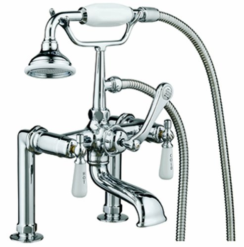 (Barclay 4601-PL-CP Rim-Mounted Tub Faucet with Hand Shower, Cross Handles and 5-Inch Spout)