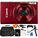 Canon PowerShot ELPH 190 IS Digital Camera (Red) - International Version (No Warranty) 32GB Bundle 15PC Accessory Kit Which Includes Replacement NB-11L Battery, 5 Piece Camera Cleaning Kit, MORE