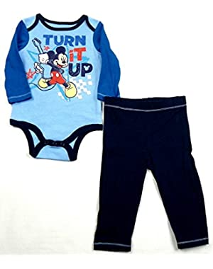 Disney Baby Boy's Mickey Mouse Pant Set Turn It Up Guitar