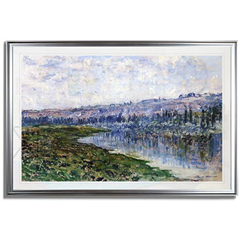(Monet Wall Art Collection The The Seine and The Chaantemesle Hills, 1880 Fine Giclee Prints Wall Art in Premium Quality Framed Ready to Hang 24X34, Silver)