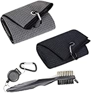 Golf Club Towel Microfiber Waffle Pattern Pattern Kit Set with Groove Retractable Cleaner Brush Carabiner Clip