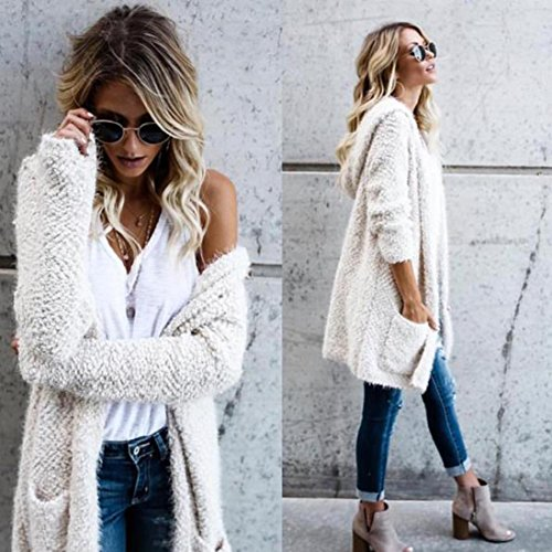 3cca24afc26 Gallity Women Sweaters Hoodie Knit Long Sleeve Lambswool Cardigan Outerwear  With Pocket warm (White