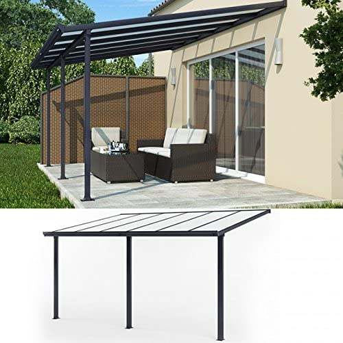 animalmarketonline Jardín padiglioni y baldacchini Tejado terraza aluminio 434 x 303 Marquesina para tejado Carport: Amazon.es: Jardín