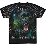 Liquid Blue Unisex-Adult's Tribal Panther All Over Print Short Sleeve T-Shirt, Black, X-Large
