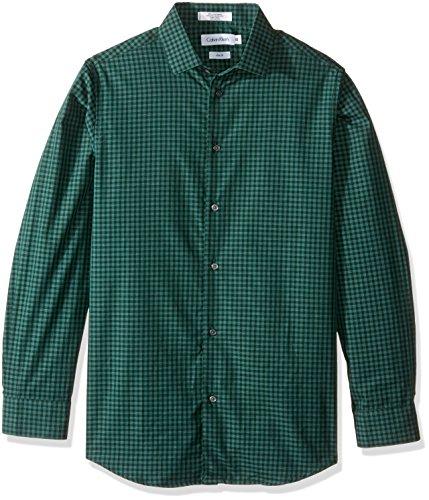 7 Up Green (Calvin Klein Little Boys Long Sleeve End On End Gingham Shirt, Dark Green, 7)