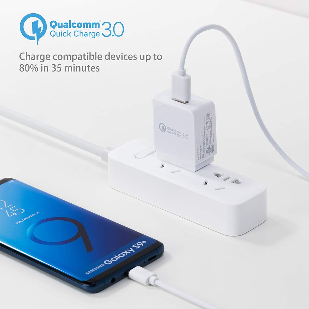 Quick Charge 3.0, 18W Travel Rapid Charger for iPhone X/8/7/Plus, iPad Pro/Air 2/Mini, Samsung Galaxy S9/ S8/Plus, Note 8, LG G6/7, Motorola, Nexus More