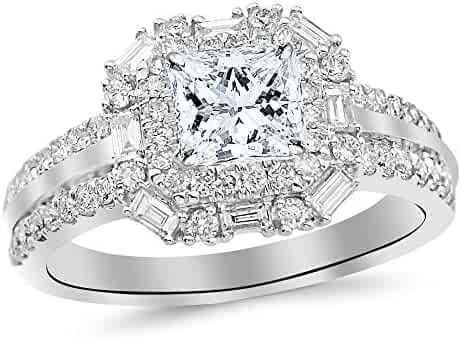 14K White Gold 1.44 CTW Princess Cut Double Row Baguette and Round Halo Diamond Engagement Ring, D-E Color SI2-I1 Clarity Center Stone