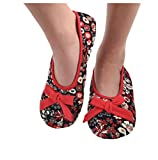 Snoozies Womens Corduroy Floral Ballet Non-Skid Slipper Socks - Red, Large