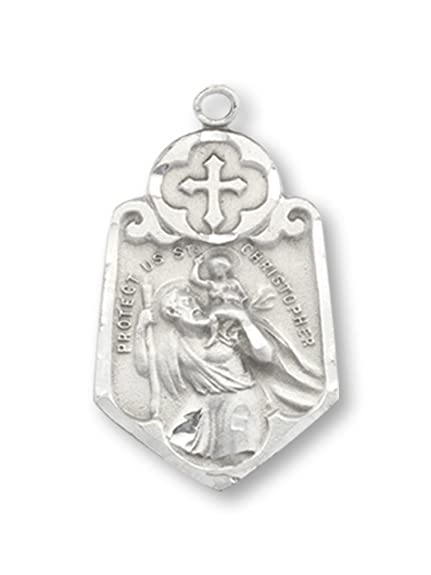 eb59acd30b81b WJH Saint Christopher Pewter 4-Way Medal Pendant 1 Inch on 24 Inch  Stainless Steel Chain