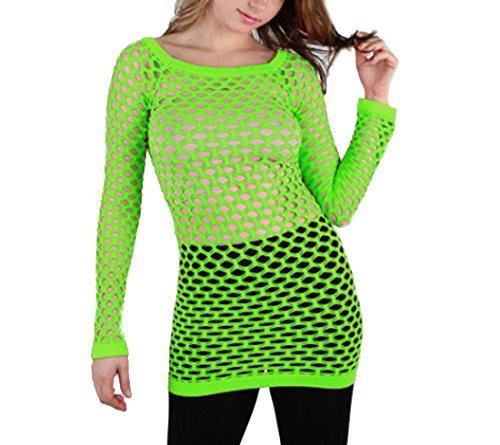 Summer Hot Fishnet Long Sleeve Shirt Dancing Blouse Top Beach Suite (Neon Green) -