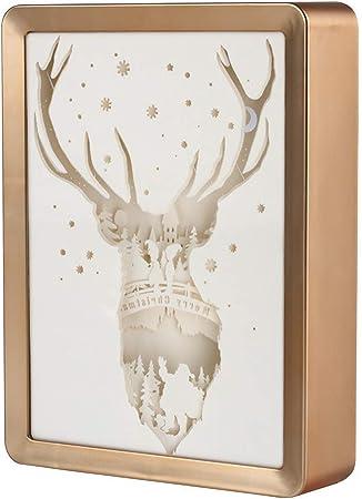 Mr.Fragile Papercut Cajas De Luz, Regalo 3D Silueta Tallada Lámpara De Mesa Noche Decoración, Papel Cortado Caja De Luz Cálida Atmósfera Romántica, Metallic: Amazon.es: Hogar
