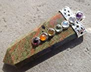 Natural Unakite 7 Chakra Cabochon Flat Healing Pendant