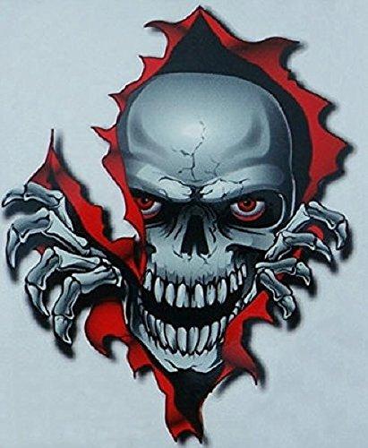 i5 Small Red Skull Decal Graphic for Honda Kawasaki Suzuki Yamaha Harley