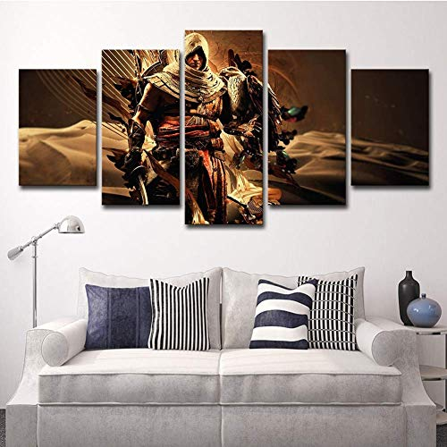 YI KUI Canvas Prints 5 Panel Canvas Prints Assassin's Creed Movie Character Picture Wall Art Painting Home Decor for Living Room, A, 30 × 40 × 2 + 30 × 60 × 2 + 30 × 80 × 1 -