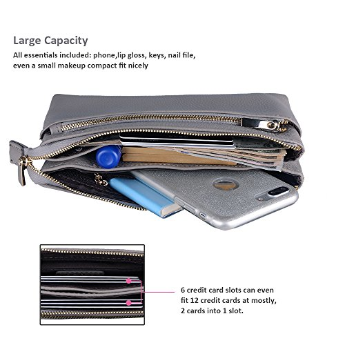 Bag Wallet Crossbody Full Tripple Purse Leather Befen Women Wristlet Gray Phone Cell Zip Bag Phone Crossbody Large Grain 14P5U8