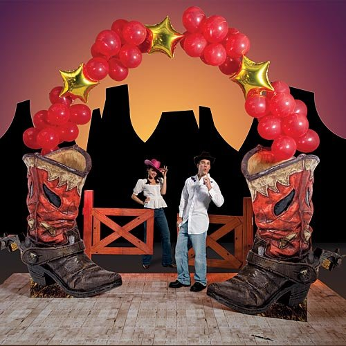 Western Cowboy Boot Balloon Arch Standup Photo Booth