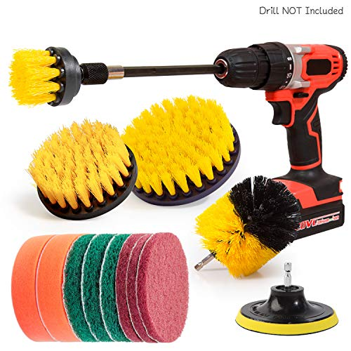 - 14Piece Drill Brush Attachments Set, Yellow Scrub Pads & Sponge, Power Scrubber Brush with Extend Long Attachment All purpose Clean for Grout, Tiles, Sinks, Bathtub, Bathroom, Kitchen & Aut