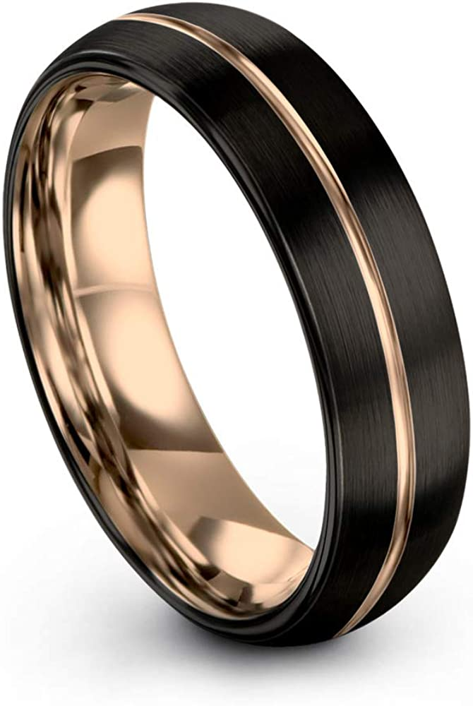 Midnight Rose Collection Tungsten Wedding Band Ring 6mm for Men Women 18k Rose Yellow Gold Plated Dome Center Line Black Brushed Polished