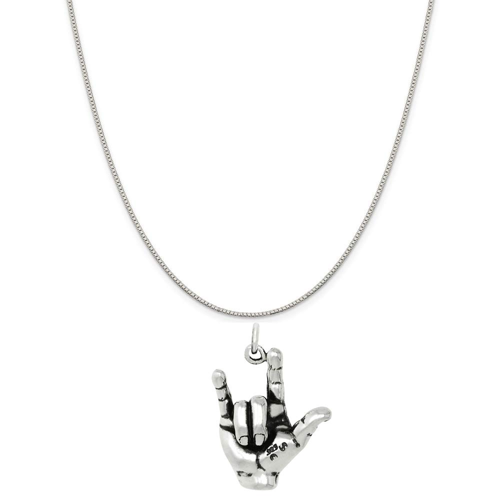 Raposa Elegance Sterling Silver 3D I love You Sign Language Charm Necklace 16, 18 or 20 Chain