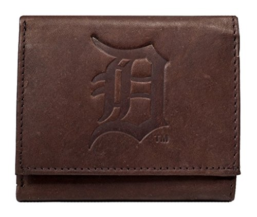 Rico Detroit Tigers MLB Embossed Logo Dark Brown Leather Trifold Wallet (Detroit Tigers Money Clip)