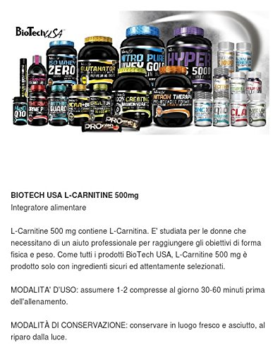 Amazon.com: BIOTECH USA SUPER L-CARNITINE 500mg - 60 tabs: Health & Personal Care