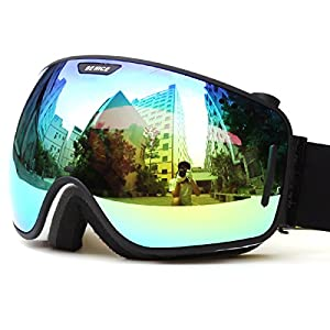 Ski Goggles Winter Snow Sports Snowboard Goggles with Anti-fog100% UV Protection Interchangeable Spherical Dual Lens for Men Women & Youth Snowmobile Skiing Skating