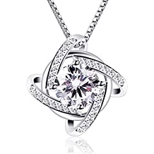 B.Catcher Necklaces Silver Womens Jewelry Windmill Pendant Cubic Zirconia Box Chain Necklace