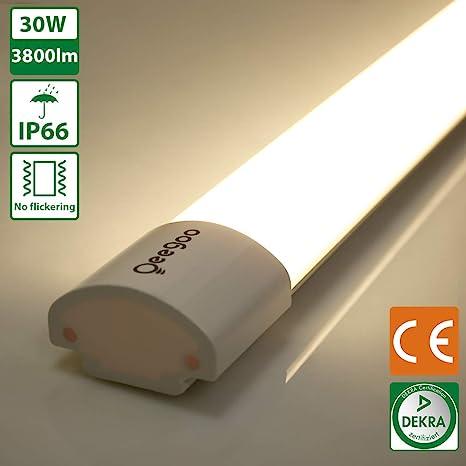 Oeegoo Tubo LED 120CM, Imperméable IP66 LED Lámpara de Techo 30W Alternativa a 300 Vatios Bulbo RA> 80 para Baño, Cocina, Garaje, Bodega, Oficina ...